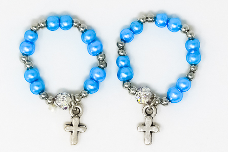 Light Blue Rosary Ring.