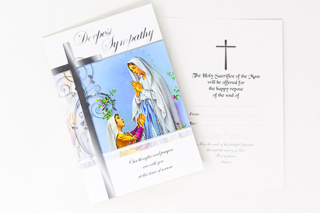 Lourdes Sympathy Mass Card.