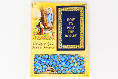 Novena Book & Lourdes Apparition Rosary Beads.