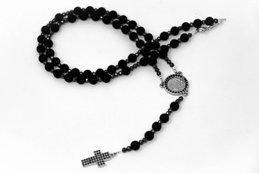 Lourdes Rosary with Volcanic Rock Beads.