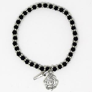 Black Crystal Rosary Bracelet.