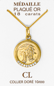 Gold Apparition Necklace with Cubic Zirconia Stones.