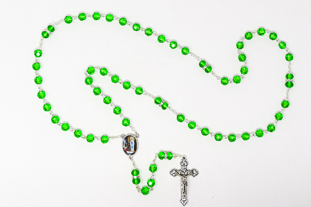 Silver Plated Crystal Rosary Beads.