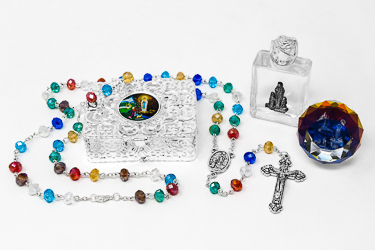 Lourdes Paperweight & Rosary Gift Set.