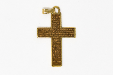 Cross Pendant with the Lords Prayer.