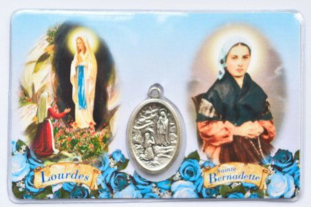 Lourdes Prayer Card with Medal.
