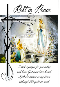 Lourdes Rest in Peace Mass Card.