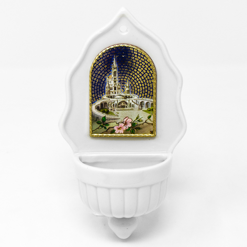 Lourdes Sanctuary Porcelain Font with a Bottle of Lourdes Water