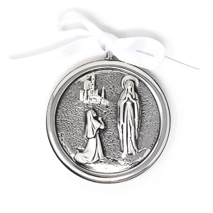 Lourdes Silver Plated Crib Medal .
