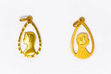 Virgin Mary Gold Pendant.
