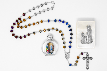 Lourdes Water Emerald Rosary Gift Set.
