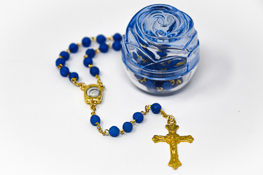Lourdes Water Apparition Blue Rosary Beads.