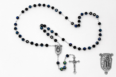 Lourdes Water Black Rosary Beads