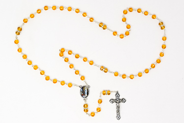 Yellow Crystal Rosary Beads.