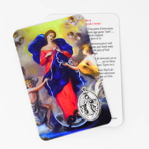 Mary Undoer of Knots Prayer Card & Medal