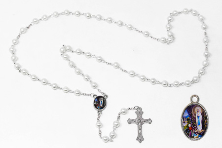 Apparition Rosary Set with Medal.