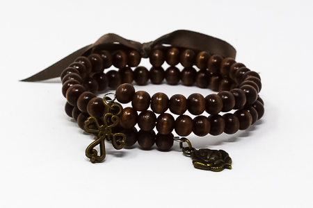 Memory Wire Wooden Rosary Bracelet.