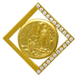 Men's Gold Lourdes Pendant.