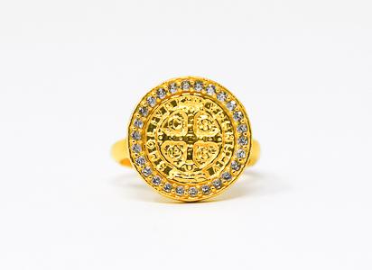 Men's St Benedict Gold Ring.