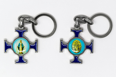 Miraculous Medal Cross Key Chain.