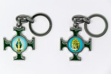 Miraculous Medal Cross Key Chain.