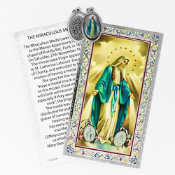 Miraculous Medal Prayer Card with Medal.