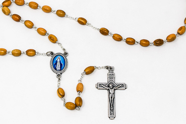 Our Lady of Grace Olive Wood Rosary Beads.