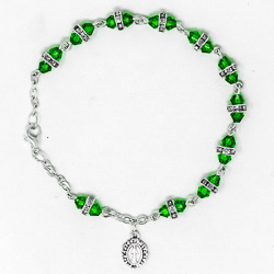 Miraculous Green Crystal Rosary Bracelet.