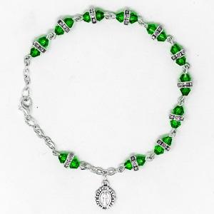 Miraculous Green Crystal Rosary Bracelet.