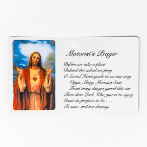 Motorist's Sacred Heart of Jesus Prayer Card.