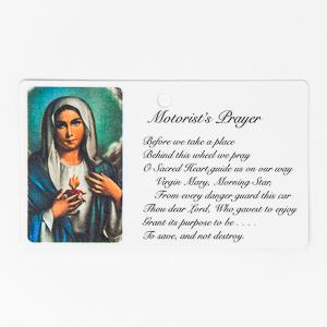 Motorist's Sacred Heart of Mary Prayer Card.