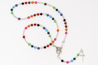 Multi Colour Swarovski Rosary Necklace.