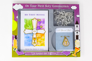 White Communion Book with Rosette & Rosary.