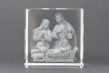 Nativity Crystal Paperweight.