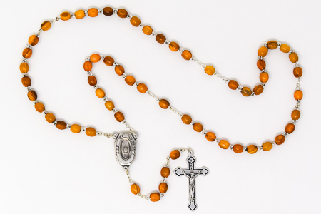Olive Lourdes Water Rosary Beads.