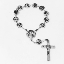 Silver Decade Rosary - St Benedict.