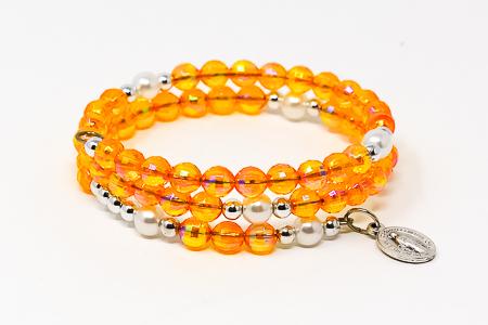 Orange Memory Wire Rosary Bracelet