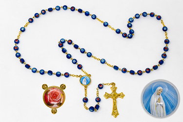 Our Lady of Fatima Glass Rosary Beads.