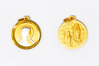Double Faced Lourdes Gold Pendant.
