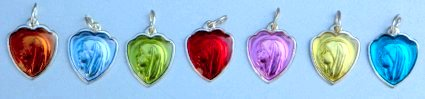 Heart shaped Our Lady of Lourdes Medals.