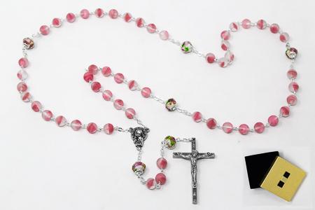 Pink Bohemian Rosary Beads
