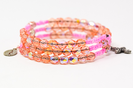 Pink Crystal Memory Wire Rosary Bracelet