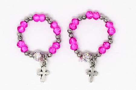 Pink Crystal Rosary Ring.