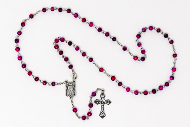 Pink Lourdes Rosary Beads.