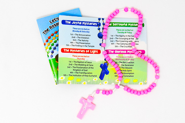 Pink Corded Wooden Rosary.