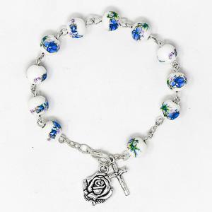 Porcelain Lourdes Apparition Rosary Bracelet.