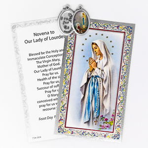 Novena Prayer Card to Our Lady with Medal.