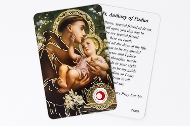 St.Anthony Prayer Card with Relic Cloth.