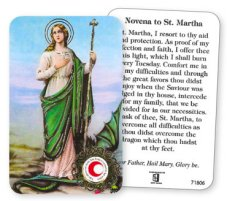 St.Martha Prayer Card with Relic Cloth.