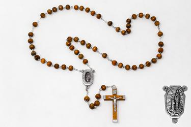 Lourdes Water Wooden Rosary Beads